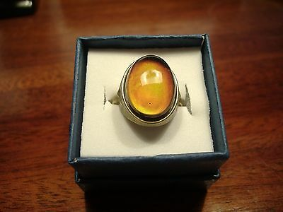 Vintage Style Antiqued Bronze Oval Mood Ring Size 8 Solid Band