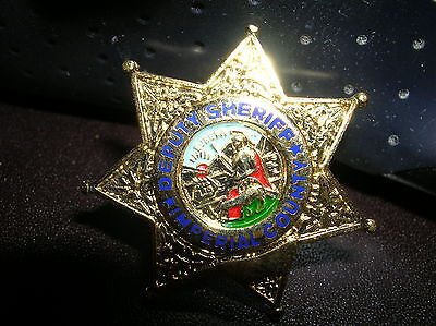 """IMPERIAL County Deputy Sheriff  Gold Star 1"""" Mini Badge PIN Tie Tac CALIF new"""
