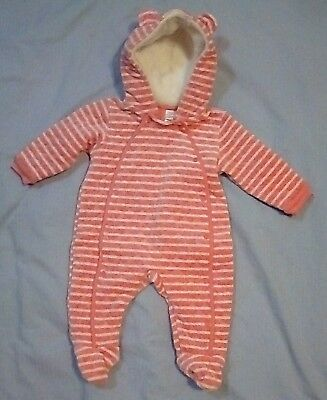 EUC Nordstrom-Baby Pink & White Quilted Hooded Bunting ~ Baby Girl Size: 6 Month