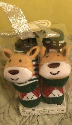 NIB Little Me Christmas Bootie Socks 0-12m 2 Pair
