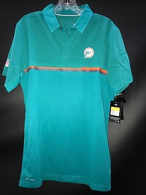 162ab767621 Miami Dolphins Team Issued Coaches Throwback Aqua Polo Shirt Brand New Free  S h