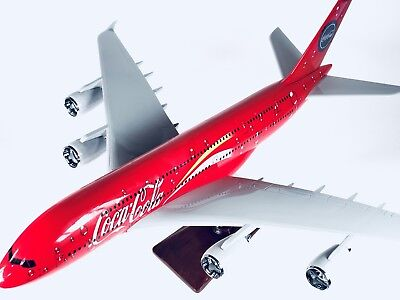 COCA COLA LARGE PLANE MODEL A380  ON STAND APX 45cm SOLID RESIN