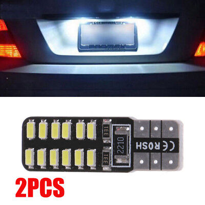 2x T10-3014-24SMD LED Canbus Error Free Car License Plate Light Side Wedge Lamp