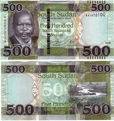 New: South Sudan 500 Pounds Banknote 2018 P NEW in UNC