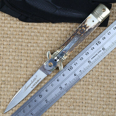 Hand Made Vintage Antler Handle Assisted Open Tactical Camping Outdoor Knife
