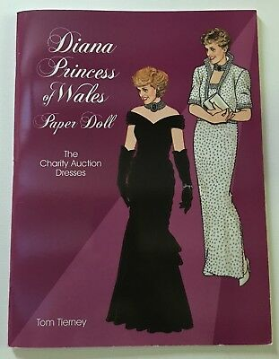"""DIANA PRINCESS of WALES  """"THE CHARITY AUCTION DRESSES"""" Paper Doll Book"""