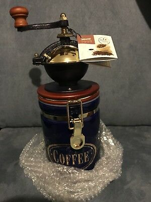 NWB Bisetti Manual Coffee Grinder With Large Blue Ceramic Storage Container
