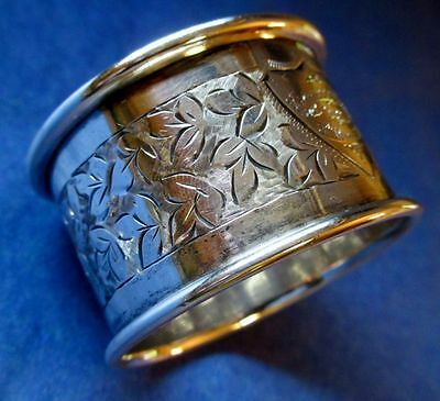 Napkin Ring Antique Art Nouveau Sterling Silver Hallmarked England Chester