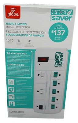 Globe Energy Saving Ener Saver Power Strip Surge Protector 8 Outlets-New In Box