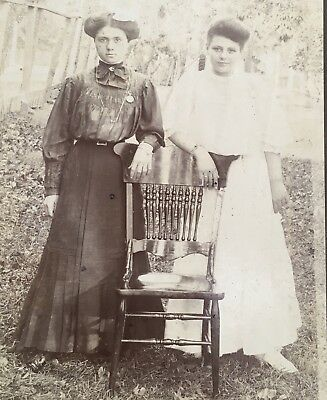 1900's Pretty Young Lady TWO SISTERS School Girl CABINET CARD PHOTO