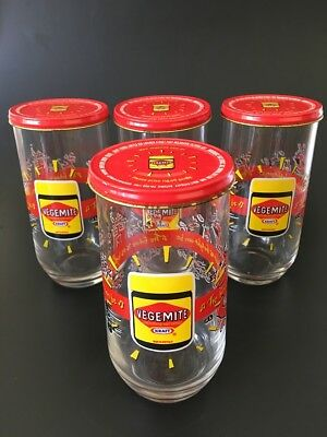 Vegemite Glass or Tumbler - Set of 4 with Lids - Kraft Foods