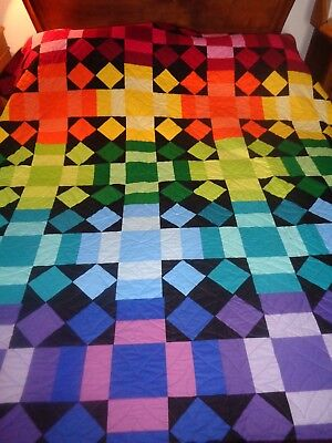 Bright and beautiful handmade rainbow quilt - double or queen