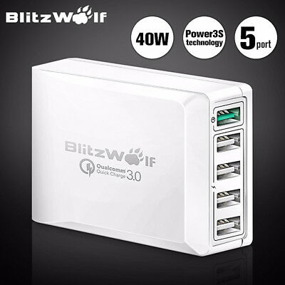BlitzWolf BW-S7 Quick Charge Adapter USB Charger White 5 Port US Plug Charger