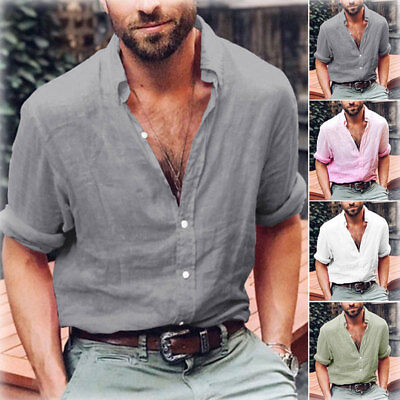 AU Men's Summer Cotton Linen T Shirt Tops Casual Loose V Neck Long Sleeve Tee