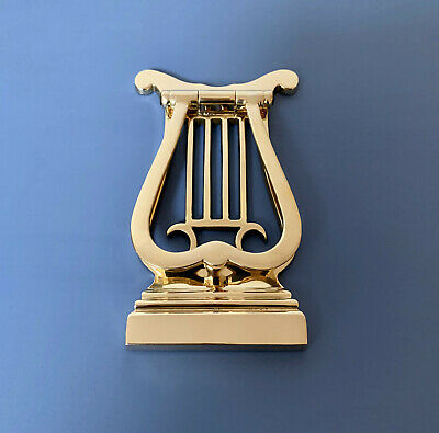 Brass Harp Door Knocker Lyre Art Nouveau Knobs Handles Bell Letter Plate