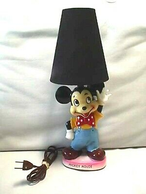 Vintage Mickey Mouse Ceramic Bedroom Lamp Excellent Working Condition