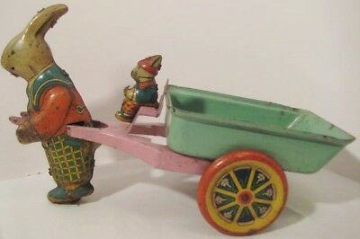 """Wonderful Antique Pressed Steel Toy 10"""" Easter Dump Cart w 2 Rabbits 1930s Rare!"""