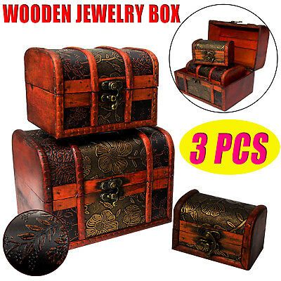 3Pcs Wooden Jewellery Necklace Treasure Box Storage Chest Case Display Organizer