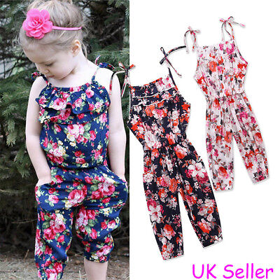 Toddler Kids Baby Girls Strappy Floral Jumpsuit Romper Bodysuit Outfits Clothes