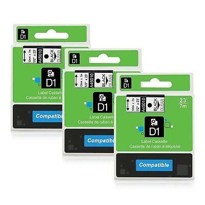 Equivalent Dymo D1 45010 S0720500 Black on Clear Label Tape 1/2'' W x 23'... New