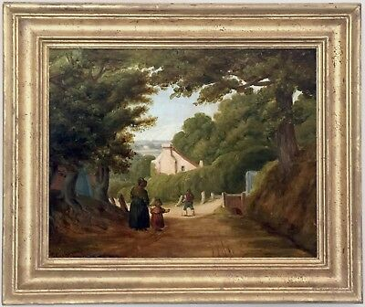 Rustics in a Landscape Antique Oil Painting Mid 19th Century English School