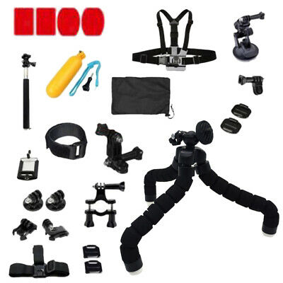 24Pcs Accessories Kit For GoPro Hero 3 3+ 4 5 6 SJCAM Head Chest Strap Pole