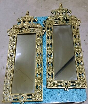 Antique Bradley & Hubbard Cast Brass Mirror & Wall Sconce Mythical Fish Gothic