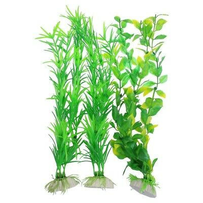 "3 pcs Aquarium Yellow Green Plastic Artificial Plants 13.8"" Heig PF N6H7"