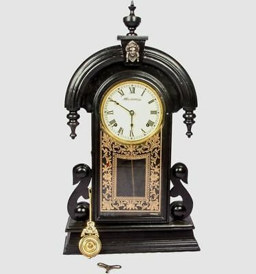 Vintage Spring Driven Ansonia Antique Black Wooden Pendulum Wall Clock HB 046