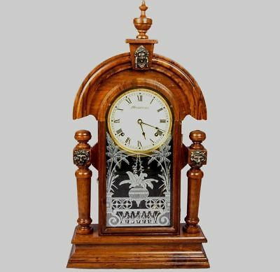 Antique Ansonia Spring Driven Mechanism Lion Pendulum Wooden Wall Clock HB 045