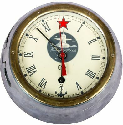 Russian Old Cabin Clock Vintage Ussr Boat Ship Submarine Navy With Key HB 053