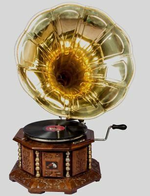 Antique Brass Vintage 8 Side Hmv Gramophone Old Music Winding Phonograph HB 020