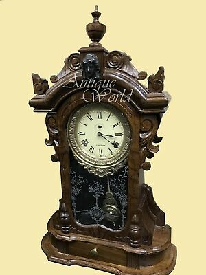 "Antique 1920 Vintage ""Made For Royal Navy"" Spring Driven Pendulum Clock HB 0153"