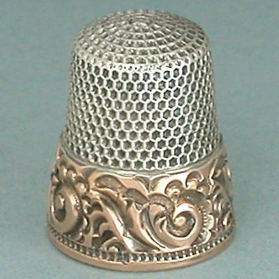 Antique 14 Kt Gold Band Sterling Silver Thimble by Ketcham & McDougall * C 1900s