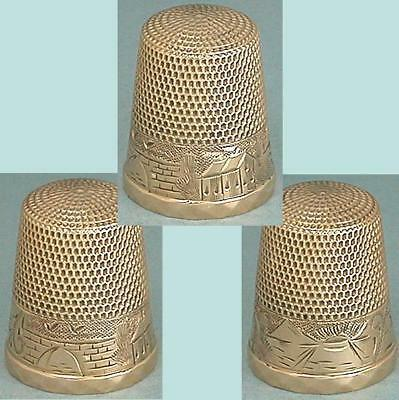 Antique Solid 10 Kt Gold Landscape Band Thimble by Waite, Thresher Co.* C 1890s