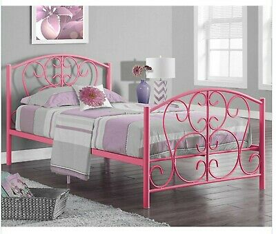 6144d3467961 3ft Single Classic Metal Bed Frame in White or Pink with Mattress Options
