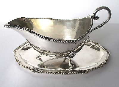 Antique 900 Silver European Salver & Sauce Boat