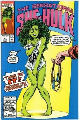 SENSATIONAL SHE-HULK #40 Marvel -Classic Byrne naked/jump Rope cover-1992 NM-