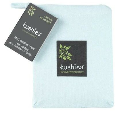 Kushies Organic Jersey Bassinet Fitted Sheet, Blue, OPEN PACKAGE, UNUSED.