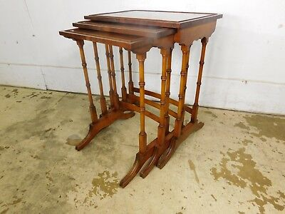 Vintage Antique Burl Wood Nesting Tables of 3 18c Federal Sheraton Bamboo Design