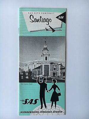 1965 SAS Scandinavian Airlines Vintage City Portrait Series Santiago, Chile