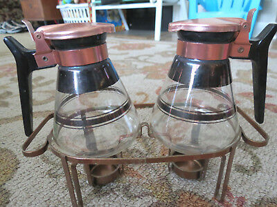 Vntg 3 Pc Set Syrup Warmer Pitchers Copper Tops On Tealights Warmer Stand