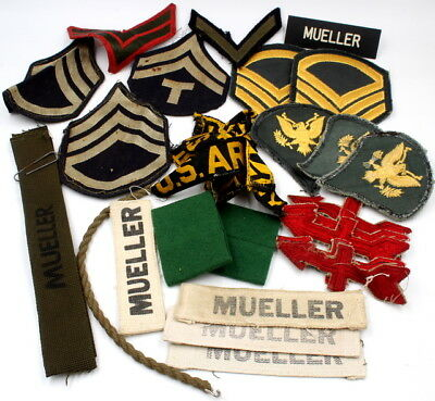 Ww2 Us Army Lot Of Soldier Uniform Patches Badges & Ranks & Red Arrow - Nr #2384