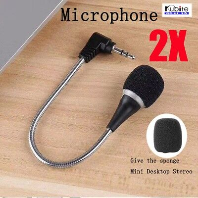2X Mini 3.5mm Jack Flexible Microphone Speaker Mic Desktop Stereo Record Laptop