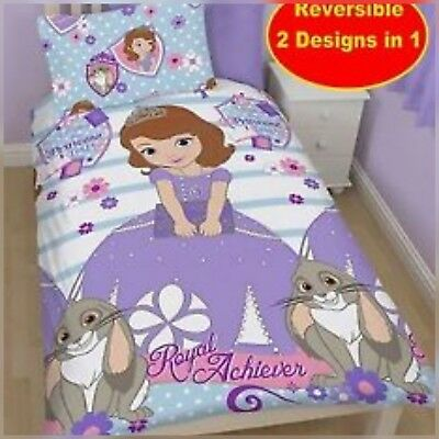 Sofia The First Royal Acheiver Reversible Printed  Single Duvet Quilt Cover