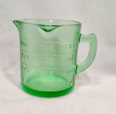 Measuring Cup Green One Cup Measure Reproduction Depression Glass  #515G
