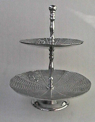 Spider And Cobweb Two Tier Silver Serving Tray Halloween Made In India Gothic
