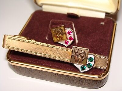 10K Vintage Welch Foods Employee Ruby Service Pin & Emerald Tie Clip