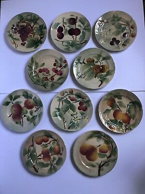Lot of 10 vintage K&G St Clements France Majolica fruit plates ALL DIFFERENT!!