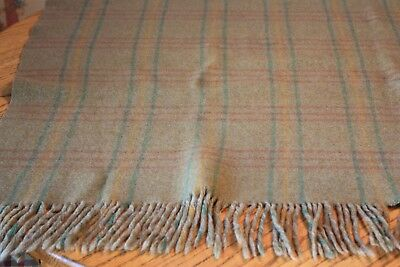 Vintage Green Wool Plaid Blanket Throw Shabby Cottage Cabin Very Old Fringe